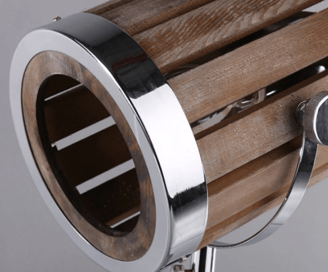 Leonard & Hazel™ Wooden Spotlight Lamp - Up close