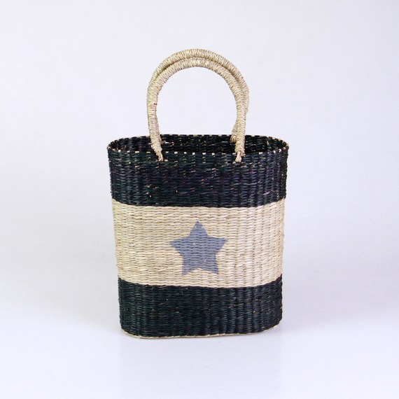 Seagrass Handbag with Blue Star
