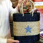 Seagrass Handbag with Handles and Blue Star