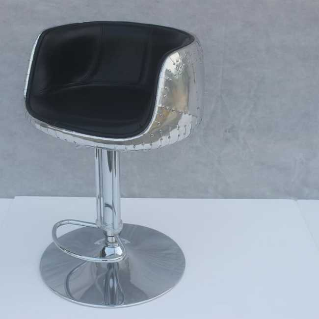 Mos Neata Vintage Aviation Aluminium Bar Stool with Black Genuine Leather-side