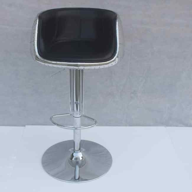 Mos Neata Vintage Aviation Aluminium Bar Stool with Black Genuine Leather