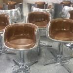 Mos Neata Vintage Aviation Aluminium Bar Stools with Genuine Leather