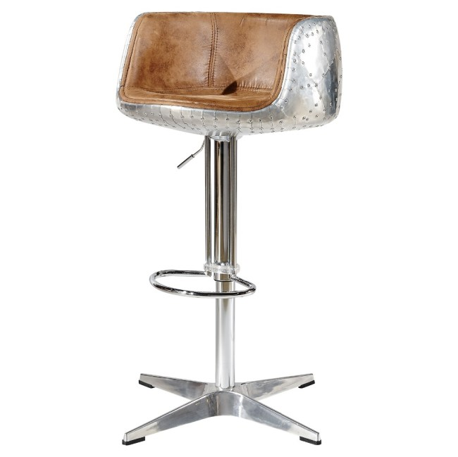 Mos Neata Vintage Aviation Aluminium Bar Stools with Chestnut Tan Genuine Leather