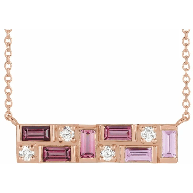 14K Rose Pink Multi-Gemstone & 1:8 CTW Diamond Bar Necklace from Leonard & Hazel™