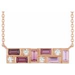 14K Rose Pink Multi-Gemstone & 1:8 CTW Diamond Bar Necklace from Leonard & Hazel™