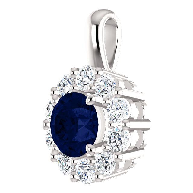 14K White Blue Sapphire & 1:2 CTW Diamond Pendant from Leonard & Hazel™