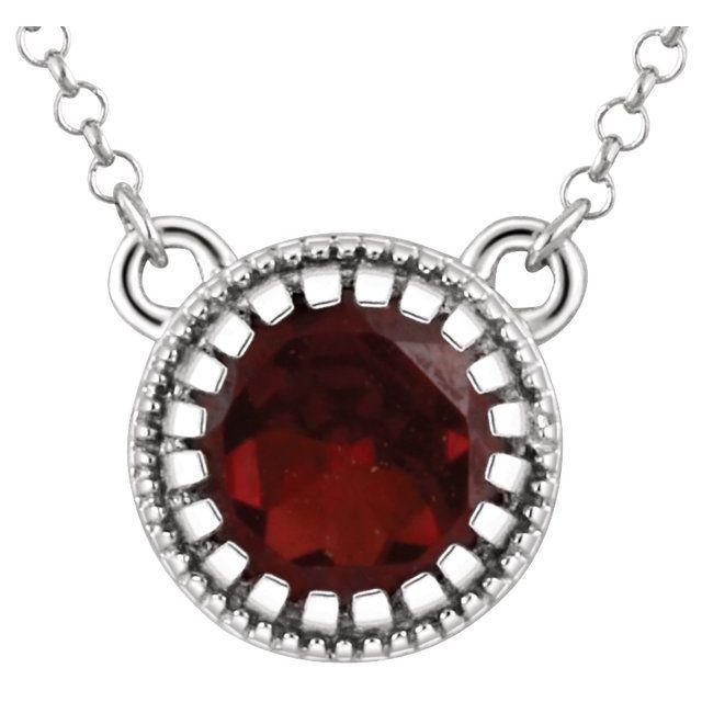 "14K White Gold Garnet Necklace – ""January"" Birthstone - from Leonard & Hazel™"