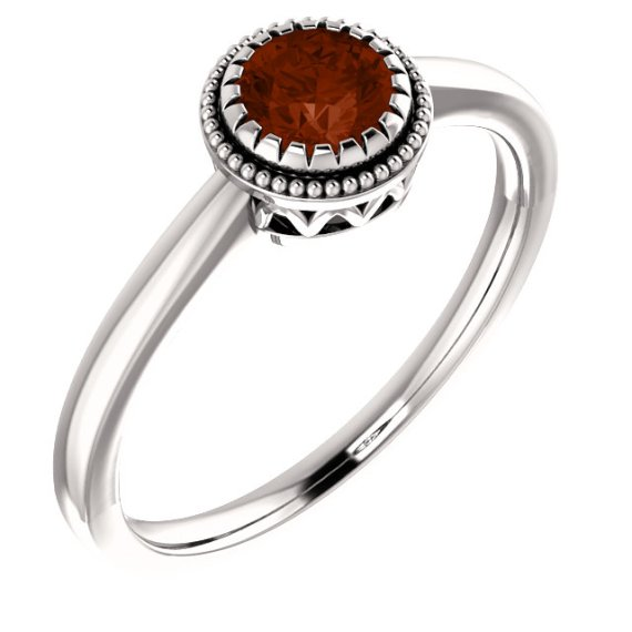 "14K White Gold Garnet Ring – ""January"" Birthstone from Leonard & Hazel™"