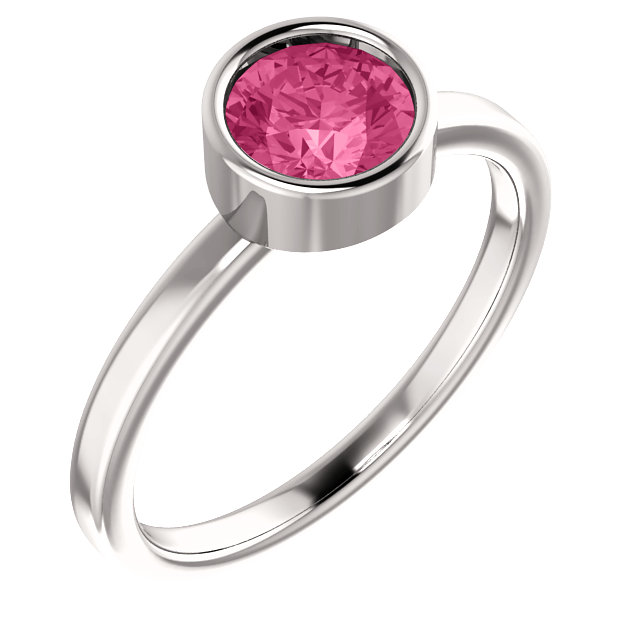 14K White Pink Tourmaline Ring