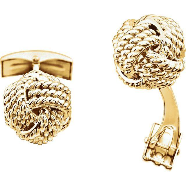 14K Yellow Gold Knot Cuff Links from Leonard & Hazel™