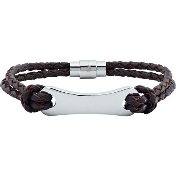 "Dark Brown Leather & Stainless Steel 8.5"" Bracelet"
