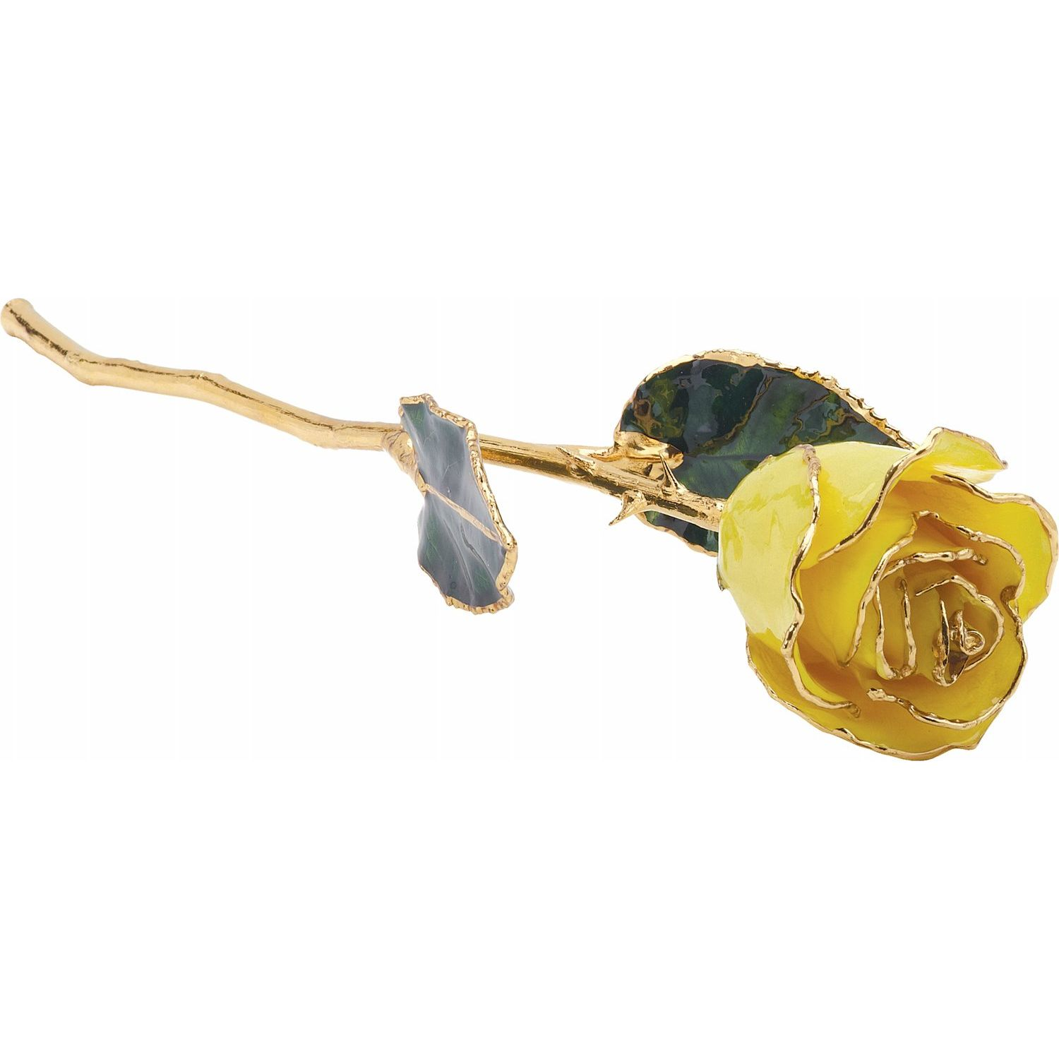 Lacquer Dipped Gold Trim Yellow Red Rose