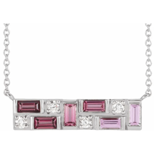 Platinum Pink Multi-Gemstone & 1:8 CTW Diamond Bar Necklace from Leonard & Hazel™