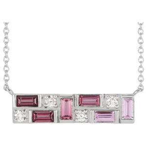 Platinum Pink Multi-Gemstone & 1:8 CTW Diamond Bar Necklace from Leonard & Hazel™