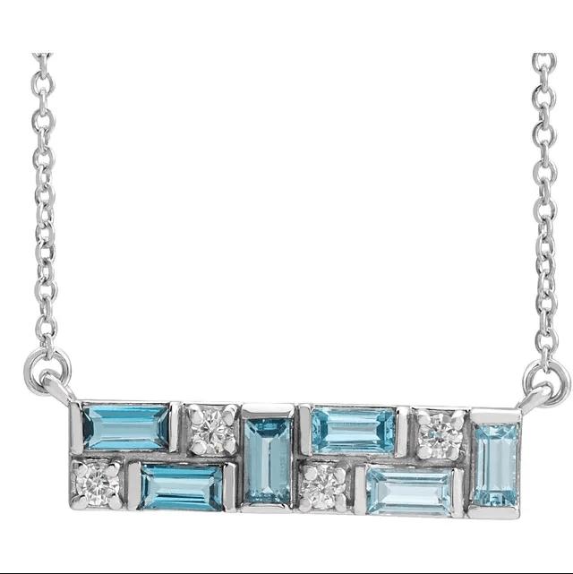 Sterling Silver Blue Multi-Gemstone & 1:8 CTW Diamond Bar Necklace from Leonard & Hazel™