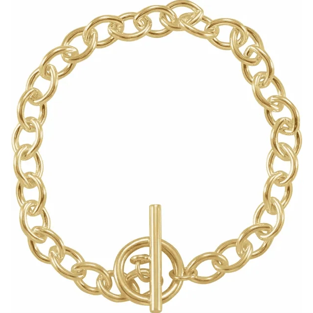 """Yellow-Plated Sterling Silver Toggle 8"""" Bracelet from Leonard & Hazel™"""
