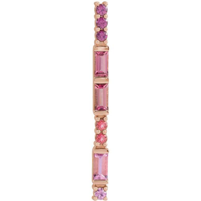 14K Rose Gold Pink Multi-Gemstone Bar Pendant from Leonard & Hazel™