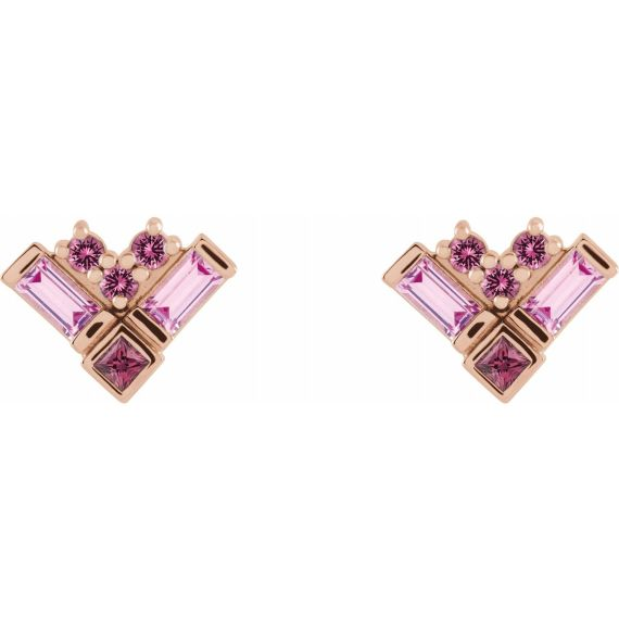 14K Rose Gold Pink Multi-Gemstone Cluster Earrings from Leonard & Hazel™