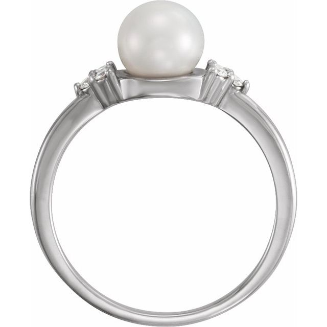 14K White Gold 6.5-7 mm Freshwater Cultured Pearl & .09 CTW Diamond Ring from Leonard & Hazel™