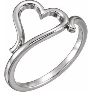 14K White Solid Gold Heart Ring from Leonard & Hazel™
