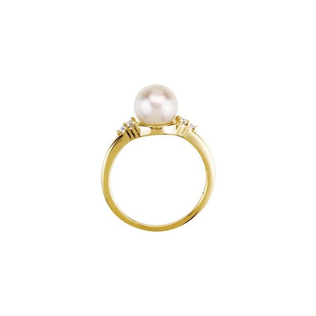 14K Yellow Gold 7.5-8 mm Freshwater Cultured Pearl & 1:8 CTW Diamond Ring from Leonard & Hazel™