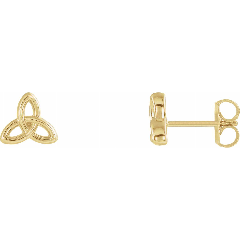 14K Yellow Gold Celtic-Inspired Trinity Earrings from Leonard & Hazel™