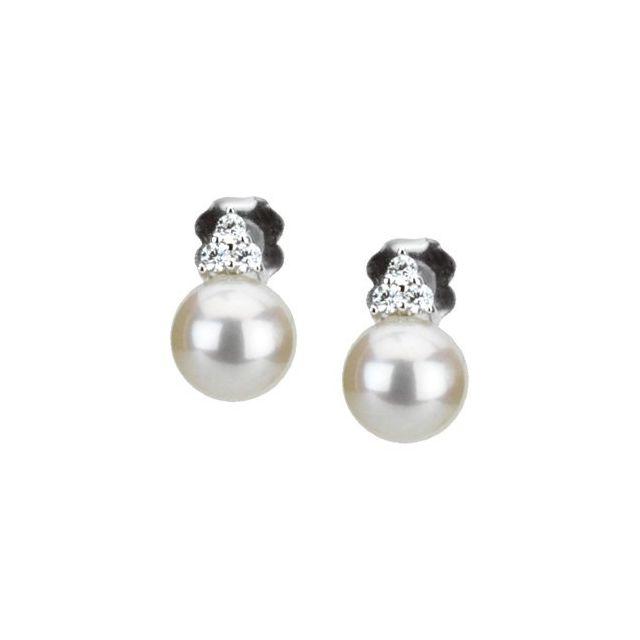 Freshwater Cultured Pearl & Diamond Earrings from Leonard & Hazel™