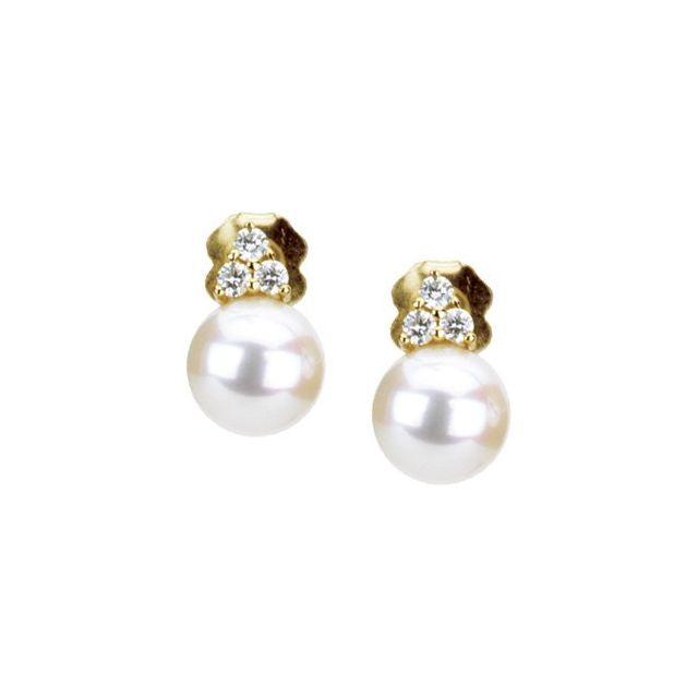 Freshwater Cultured Pearl & Diamond Earrings set in 14K Yellow Gold from Leonard & Hazel™