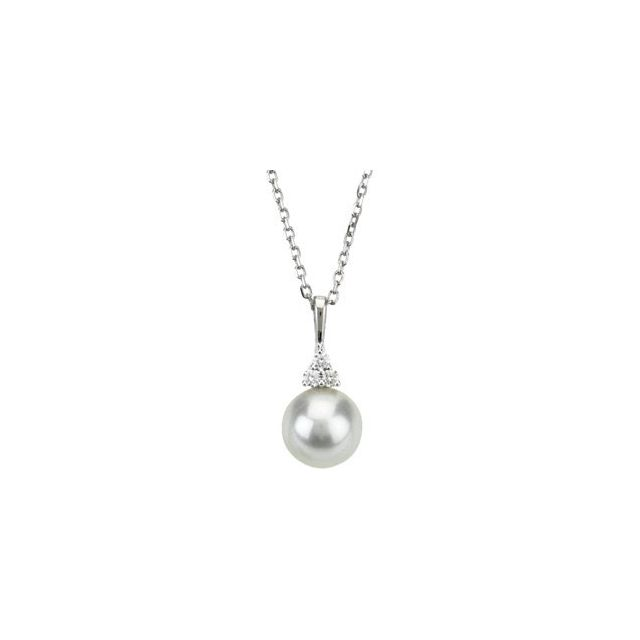 "Freshwater Cultured Pearl Necklace 18"" set in 14K White Gold with .06 CTW Diamonds"