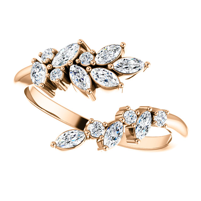 14K Rose Gold 1/2 CTW Diamond Bypass Ring from Leonard & Hazel™
