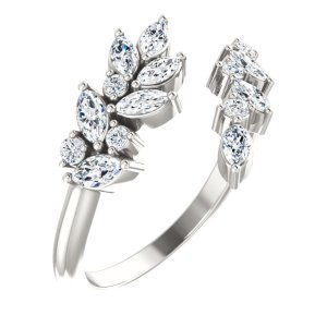Sterling Silver 1:2 CTW Diamond Bypass Ring from Leonard & Hazel™