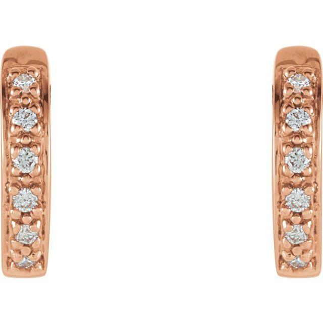14K Rose 1:10 CTW Diamond Hoop Earrings