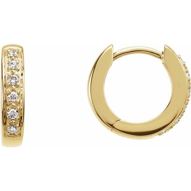 14K Yellow 1:10 CTW Diamond Hoop Earrings