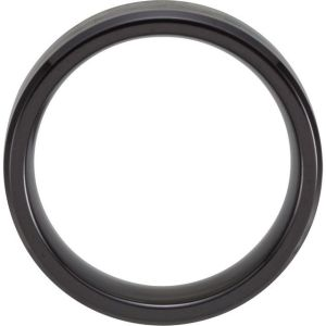 Black Titanium 8 mm Beveled-Edge Band with Black Carbon Fiber Inlay