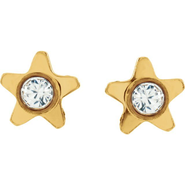 24K Gold-Washed Stainless Steel Crystal Piercing Earrings
