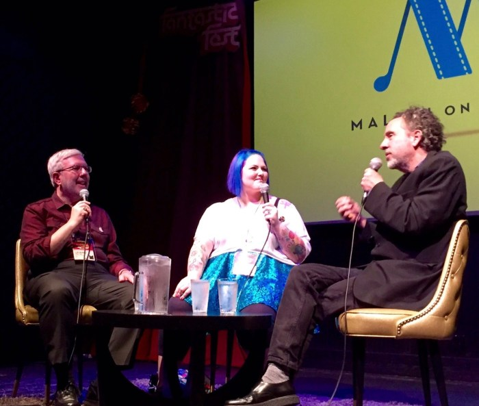 Jessie and I on stage with Tim Burton