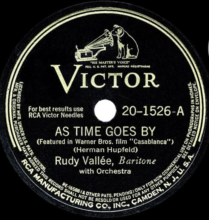 RCA reissued Rudy Vallee's 1931 record in 1943 to capitalize on the success of Casablanca