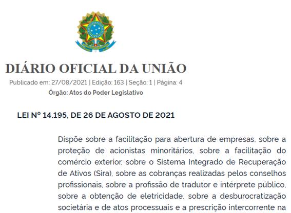 Lei n 14.195: Alterações importantes na Legislação Empresarial e Processual