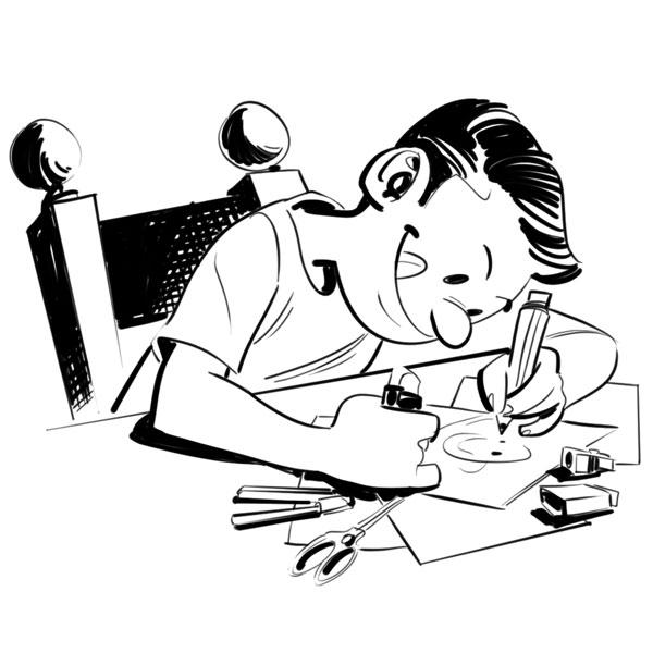 Fumetto dell'autore mentre disegna da bambino.