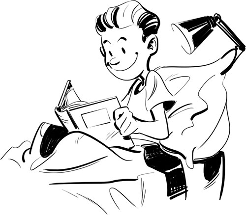 Fumetto dell'autore mentre legge da bambino.