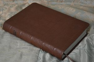 Matte brown alligator-embossed cowhide