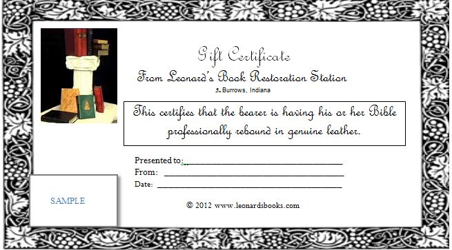Gift Certificate available for purchase at Leonard's