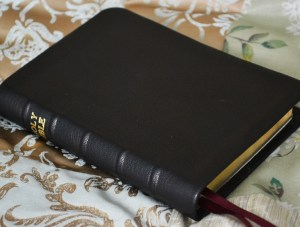 Black soft-tanned goatskin -- even a small Bible will open flat in it.
