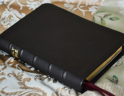 Small Bible rebound in black soft-tanned goatskin