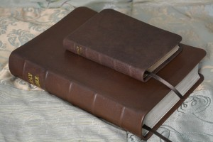 Large and small Bibles, both in the glossy chocolate soft-tanned goatskin