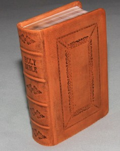 "Hardcover Bible in English calfskin with a light tan ""law calf"" look"