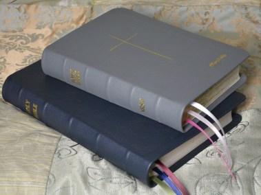 Gray and Navy Pebble Grain Cowhide Bible