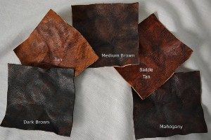All the colors for the hand-dyed rustic goatskin