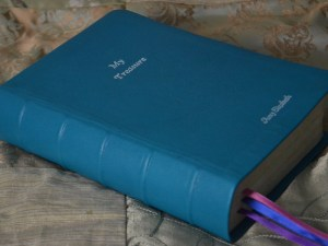 Beautiful turquoise Bible in a soft, flexible goatskin