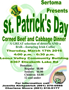 2016 St. Patricks Day flyer